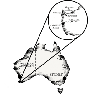 Map of Margaret River in WA